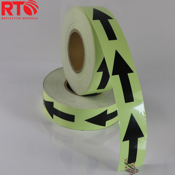 6-8hrs Arrow Printing Glow In The Dark Reflective Tape